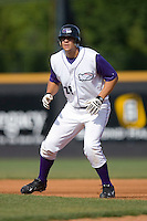 Seth Loman #28 of the Winston-Salem Dash takes his lead off of first base versus the Potomac Nationals at Wake Forest Baseball Park May 10, 2009 in Winston-Salem, North Carolina. (Photo by Brian Westerholt / Four Seam Images)