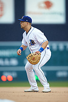 Durham Bulls first baseman Nate Lowe (36) on defense against the Gwinnett Braves at Durham Bulls Athletic Park on April 20, 2019 in Durham, North Carolina. The Bulls defeated the Braves 11-3 in game one of a double-header. (Brian Westerholt/Four Seam Images)