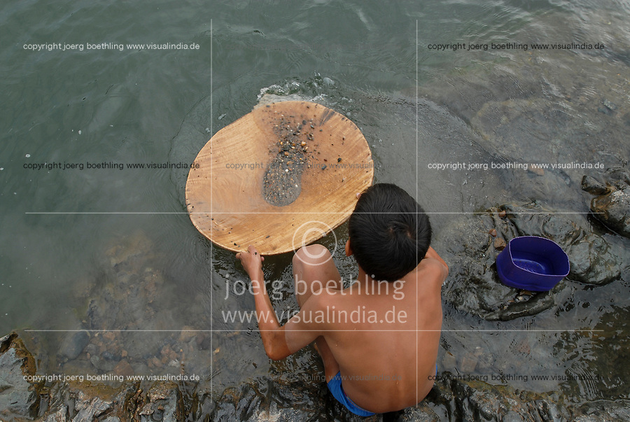 LAOS, Nam Ou river, children wash gold for chinese enterprise, Nam Ou , is a branch of Mekong River
