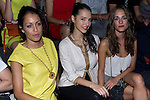 01.09.2012. Celebrities attending the Juanjo Oliva fashion show during the Mercedes-Benz Fashion Week Madrid Spring/Summer 2013 at Ifema. In the image Hiba Abouk, Cristina Brondo and Silvia Alonso (Alterphotos/Marta Gonzalez)