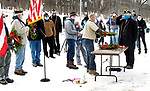 WOLCOTT CT. - 19 December 2020-121920SV05-A ceremony was held for Wreaths Across America in Wolcott Saturday. Wreaths Across America supplies wreaths for Arlington National Cemetery, has recognized Edgewood Cemetery in Wolcott as a participating cemetery in the Wreaths Across America Project. Volunteers placed 205 wreaths at the graves of U.S. Veterans that are buried at the cemetery.<br /> Steven Valenti Republican-American