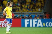 David Luiz of Brazil looks dejected