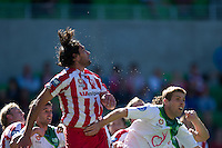 MELBOURNE, AUSTRALIA - January 2:  Beads of sweat sprays off Wayne Srhoj of the Heart during the round 21 A-League match between Melbourne Heart and North Queensland Fury at AAMI Park on January 2, 2011 in Melbourne, Australia. (Photo by Sydney Low / Asterisk Images)