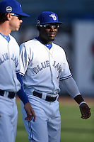 Dunedin Blue Jays outfielder Roemon Fields (2) during warmups before a game against the Clearwater Threshers on April 10, 2015 at Florida Auto Exchange Stadium in Dunedin, Florida.  Clearwater defeated Dunedin 2-0.  (Mike Janes/Four Seam Images)
