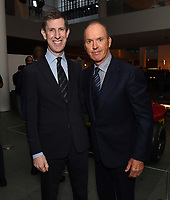 """NEW YORK CITY - OCTOBER 4: Craig Erwich, President, Hulu & ABC Entertainment and Michael Keaton attend the red carpet premiere of Hulu's """"DOPESICK"""" at the Museum of Modern Art on October 4, 2021 in New York City. . (Photo by Frank Micelotta/Hulu/PictureGroup)"""