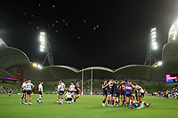 19th March 2021; Melbourne Rectangular Stadium, Melbourne, Victoria, Australia; Australian Super Rugby, Melbourne Rebels versus New South Wales Waratahs; Players celebrate after Lachlan Anderson of the Rebels scored the opening try of the game