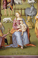 """Italien, Umbrien, Fresko """"Anbetung der Könige"""" von Perugino im Oratorium von Santa Maria de Bianchi in Citta della Pieve"""