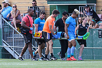 Jake Spedding of Sheffield Eagles is stretchered off during the Kingstone Press Championship match between London Broncos and Sheffield Eagles at Castle Bar , West Ealing , England  on 9 July 2017. Photo by David Horn.