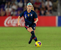 ORLANDO, FL - MARCH 05: Julie Ertz #8 of the United States dribbles during a game between England and USWNT at Exploria Stadium on March 05, 2020 in Orlando, Florida.