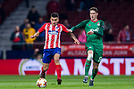 Angel Correa (L) of Atletico de Madrid competes for the ball with Aleksey Miranchuk of FC Lokomotiv Moscow during the UEFA Europa League 2017-18 Round of 16 (1st leg) match between Atletico de Madrid and FC Lokomotiv Moscow at Wanda Metropolitano  on March 08 2018 in Madrid, Spain. Photo by Diego Souto / Power Sport Images