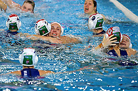 Players of Hungary celebrate the victory of the semi final and the qualification to Tokyo 2020 Olympic games <br /> Hungary HUN Vs Italy ITA <br /> Semifinal 1st-4th place <br /> Trieste (Italy) 23/01/2021 Bruno Bianchi Aquatic Center <br /> Fina Women's Water Polo Olympic Games Qualification Tournament 2021 <br /> Photo Andrea Staccioli / Deepbluemedia / Insidefoto