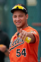 Baltimore Orioles Christopher Burgess (54) before a Minor League Spring Training game against the Pittsburgh Pirates on April 21, 2021 at Pirate City in Bradenton, Florida.  (Mike Janes/Four Seam Images)