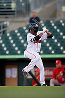Jupiter Hammerheads designated hitter Anfernee Seymour (26) at bat during a game against the Palm Beach Cardinals on August 4, 2018 at Roger Dean Chevrolet Stadium in Jupiter, Florida.  Palm Beach defeated Jupiter 7-6.  (Mike Janes/Four Seam Images)
