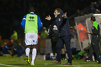 Gareth Ainsworth manager of Wycombe Wanderers asks questions during the Johnstone's Paint Trophy match between Bristol Rovers and Wycombe Wanderers at the Memorial Stadium, Bristol, England on 6 October 2015. Photo by Andy Rowland.