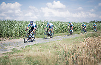 Tom Van Asbroeck (BEL/Israel - StartUp Nation) turning in at the Carrefour de l'Arbre cobbled section<br /> <br /> reconnaissance of the (delayed, due to the Covid19 pandemic) Paris-Roubaix course by Team Israel - StartUp Nation <br /> <br /> Nord-Pas de Calais region (FRA), 17 july 2020<br /> ©kramon