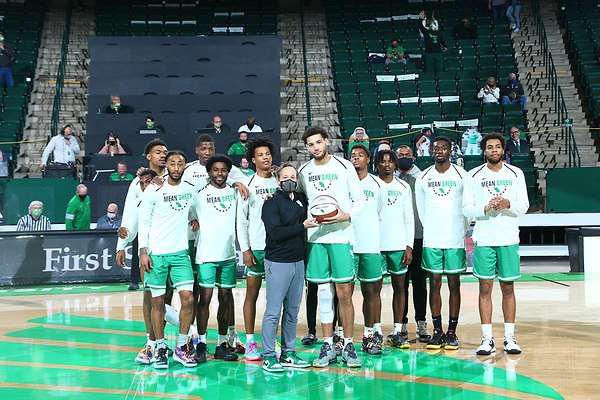 University of North Texas Mean Green Men's Basketball v Louisiana Tech Bulldogs at Super Pit in Denton on February 6, 2021