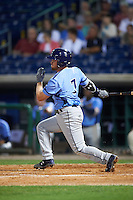 Charlotte Stone Crabs second baseman Riley Unroe (7) at bat during a game against the Clearwater Threshers on April 12, 2016 at Bright House Field in Clearwater, Florida.  Charlotte defeated Clearwater 2-1.  (Mike Janes/Four Seam Images)