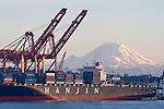Seattle; Container Ship; Mount Rainier; Container Cranes; Elliott Bay; Puget Sound; Washington State. Hanjin, Korea, Korean companies,