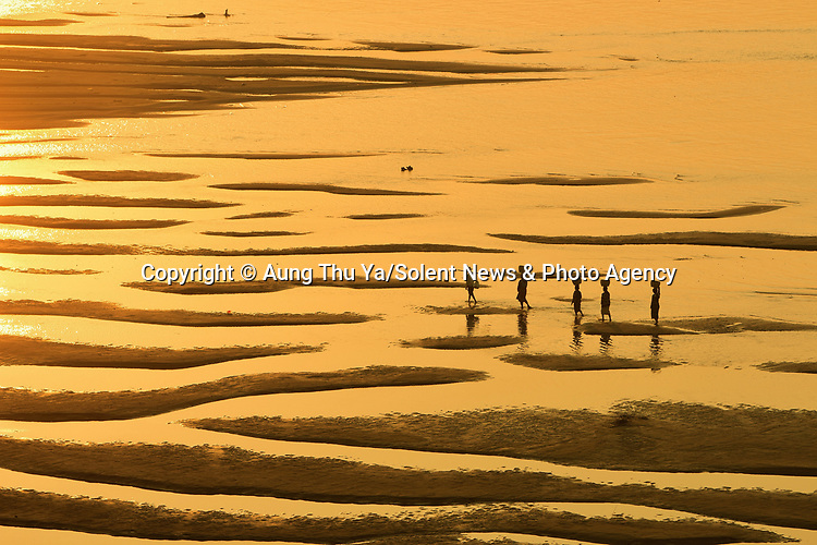 "Local villagers carrying water are dwarfed by the size of sprawling sandbanks in golden morning sunlight in Pakokku City, Myanmar.<br /> <br /> The images were captured by Aung Thu Ya, 37, a government officver from Myanmar in the dry intermonsoonal season season.  Myanmar, has three seasons in a year, the cool, relatively dry northeast monsoon (late October to mid-February), the hot, dry intermonsoonal season (mid-February to mid-May), and the rainy southwest monsoon (mid-May to late October).<br /> <br /> Aung said, ""The sandbanks lie alongside the Ayeyarwady River.  The waterway is a vital lifeline for Myanmar - it's the most commercial in the region, supplying fish to local people.""<br /> <br /> ""In this dry season, villagers pass through the sandbanks when carrying water and accessing the boat terminal.  The golden light occurs between 8 and 10am in the morning."" <br /> <br /> Please byline: Aung Thu Ya/Solent News<br /> <br /> © Aung Thu Ya/Solent News & Photo Agency<br /> UK +44 (0) 2380 458800"