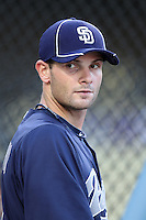 San Diego Padres infielder Andy Parrino #3 before a game against the Los Angeles Dodgers at Dodger Stadium on August 30, 2011 in Los Angeles,California. Los Angeles defeated San Diego 8-5.(Larry Goren/Four Seam Images)