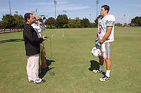 22 August 2006: Stanford Cardinal Evan Moore (8) during post practice interviews with the media at the Football Practice Field in Stanford, CA.