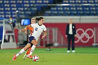 YOKOHAMA, JAPAN - JULY 30: Carli Lloyd #10 of the United States goes forward during a game between Netherlands and USWNT at International Stadium Yokohama on July 30, 2021 in Yokohama, Japan.
