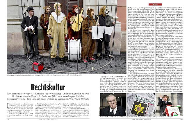 German weekly magazine DER SPIEGEL on Hungarian culture being shifted to the right, 12.2011..Pictures: Dániel Németh, Martin Fejér, Vörös Szilárd