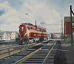"""PRR GG-1 electric locomotive backing through the crossover  to attach to a train in South Amboy NJ, just outside York City. Oil on canvas, 26"""" x 30""""."""
