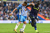 Anthony Knockaert of Brighton & Hove Albion (11) Idrissa Gueye of Everton (17) during the Premier League match between Brighton and Hove Albion and Everton at the American Express Community Stadium, Brighton and Hove, England on 15 October 2017. Photo by Edward Thomas / PRiME Media Images.