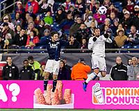 Foxborough, Massachusetts - October 13, 2018: First half action. In a Major League Soccer (MLS) match, New England Revolution (blue/white) vs Orlando City SC (white), at Gillette Stadium.