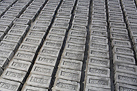 Bricks are lined up on the ground in a factory on the outskirts of Kolkata, India. November, 2013