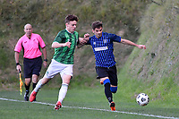 Scott Midgley of the Miramar Rangers competes for the ball with Ryan Harrison of the Wainuiomata AFC during the Central League Football - Miramar Rangers AFC v Wainuiomata AFC at David Farrington Park, Wellington, New Zealand on Saturday 17 April 2021.<br /> Copyright photo: Masanori Udagawa /  www.photosport.nz