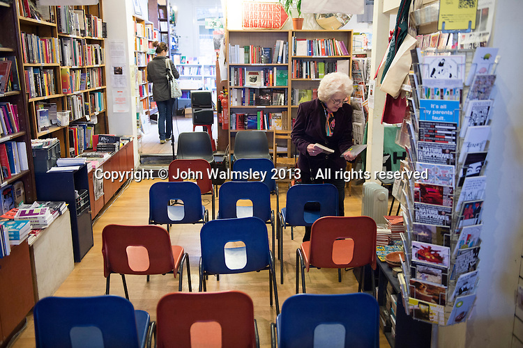 Jenny Ellis (Leila's daughter) prior to the event to discuss Leila Berg's contribution to radical education and children's lives, Houseman's bookshop, London, 22nd May 2013.