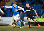 St Johnstone v Rangers…27.02.18…  McDiarmid Park    SPFL<br />George Williams holds off Greg Docherty<br />Picture by Graeme Hart. <br />Copyright Perthshire Picture Agency<br />Tel: 01738 623350  Mobile: 07990 594431