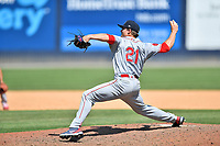 Greenville Drive pitcher Zach Bryant (21) delivers a pitch during a game against the Asheville Tourists on May 23, 2021 at McCormick Field in Asheville, NC. (Tony Farlow/Four Seam Images)