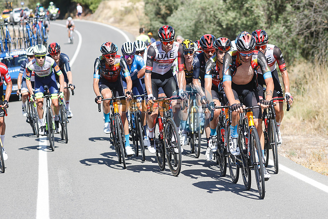 The lead group during Stage 7 of La Vuelta d'Espana 2021, running 152km from Gandia to Balcon de Alicante, Spain. 20th August 2021.     <br /> Picture: Luis Angel Gomez/Photogomezsport | Cyclefile<br /> <br /> All photos usage must carry mandatory copyright credit (© Cyclefile | Luis Angel Gomez/Photogomezsport)