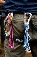 Instructor's belt with carabiners.  State junior school trip to Outdoor Activities Centre.  .