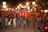 Summer evening obon dance in honor of ancestors at the Lahaina Jodo Mission, Maui