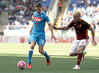 Calcio, Serie A: Roma vs Napoli. Roma, stadio Olimpico, 25 aprile 2016.<br /> Napoli's Jorginho, left, is chased by Roma's Radja Nainggolan during the Italian Serie A football match between Roma and Napoli at Rome's Olympic stadium, 25 April 2016. <br /> UPDATE IMAGES PRESS/Isabella Bonotto