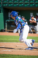 Ryan Scott (15) of the Ogden Raptors at bat against the Grand Junction Rockies in Pioneer League action at Lindquist Field on July 5, 2015 in Ogden, Utah.Ogden defeated Grand Junction 12-2.  (Stephen Smith/Four Seam Images)