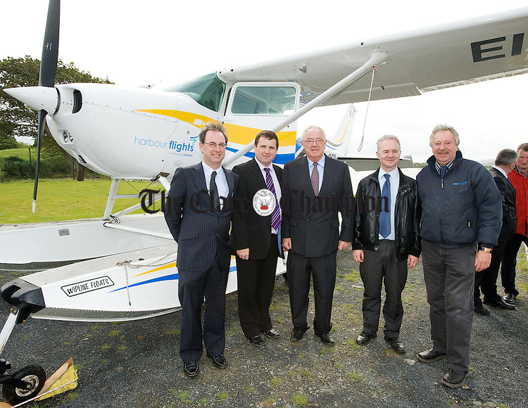 Ronan Connolly, investor,  Stewart Curtis, Operations Manager Harbour Flights, Captain Kieran O Connor, Pieter Van Velzen, and Emelyn Heaps of Harbour Flights at a ceremony to mark the official granting of the first ever Commercial Seaplane Base license to Harbour Flights Ireland Ltd, by the Irish Aviation Authority. Photograph by John  Kelly..