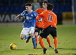 St Johnstone v Dundee Utd..10.11.15  SPFL Development League.  McDiarmid Park, Perth.<br /> Eoghan McCawl is closed down by Aiden Connolly and Ali Coote<br /> Picture by Graeme Hart.<br /> Copyright Perthshire Picture Agency<br /> Tel: 01738 623350  Mobile: 07990 594431