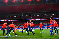 25th March 2021; Wembley Stadium, London, England;  England players during warm up prior to the World Cup 2022 Qualification match between England and San Marino at Wembley Stadium in London, England.