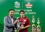 Dario Leonardo Conca with his man of the match award during the ACL first round match between Melbourne Victory (AUS) and Shanghai SIPG (CHN) played at the Rectangular Stadium in Melbourne on Wednesday 24th February, 2016. Picture: Mark Dadswell/Lagardere Sports