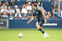 KANSAS CITY, KS - JUNE 26: Graham Zusi #8 Sporting KC with the ball during a game between Los Angeles FC and Sporting Kansas City at Children's Mercy Park on June 26, 2021 in Kansas City, Kansas.