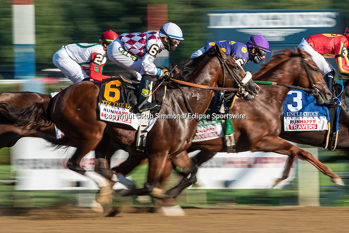 August 8, 2020: Tiz the Law #6, ridden by Manuel Franco, trained by Barclay Tagg wins the The Runhappy Travers at Saratoga Race Course in Saratoga Springs, New York. Rob Simmons/CSM