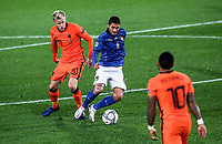 Italy's Marco Verratti, right, is challenged by Netherlands's Donny van de Beek during the UEFA Nations League football match between Italy and Netherlands at Bergamo's Atleti Azzurri d'Italia stadium, October 14, 2020.<br /> UPDATE IMAGES PRESS/Isabella Bonotto