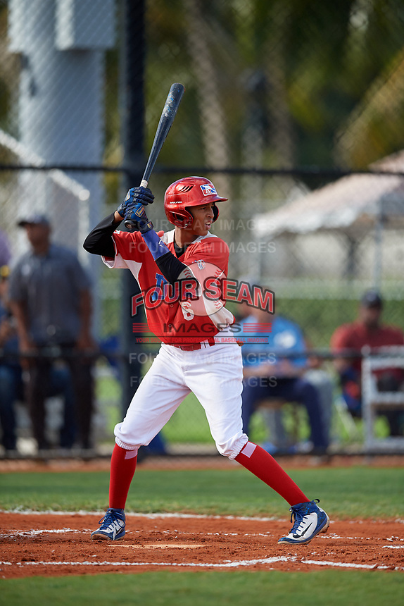 Danny Gonzalez (6) during the Dominican Prospect League Elite Florida Event at Pompano Beach Baseball Park on October 15, 2019 in Pompano beach, Florida.  (Mike Janes/Four Seam Images)