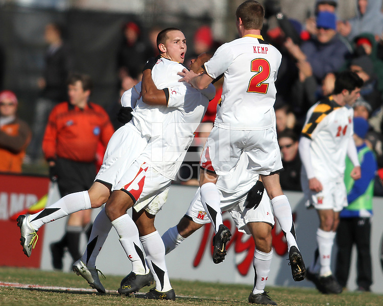 Casey Townsend #11 of the University of Maryland after scoring the first goal during an NCAA quarter-final match against the University of Michigan at Ludwig Field, University of Maryland, College Park, Maryland on December 4 2010.Michigan won 3-2 AET.