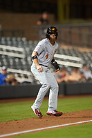 Mesa Solar Sox Brandon Marsh (4), of the Los Angeles Angels organization, leads off third base during an Arizona Fall League game against the Salt River Rafters on September 19, 2019 at Salt River Fields at Talking Stick in Scottsdale, Arizona. Salt River defeated Mesa 4-1. (Zachary Lucy/Four Seam Images)